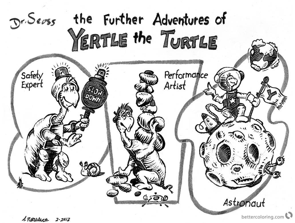 Dr Seuss Yertle The Turtle Coloring Page The Further Adventures