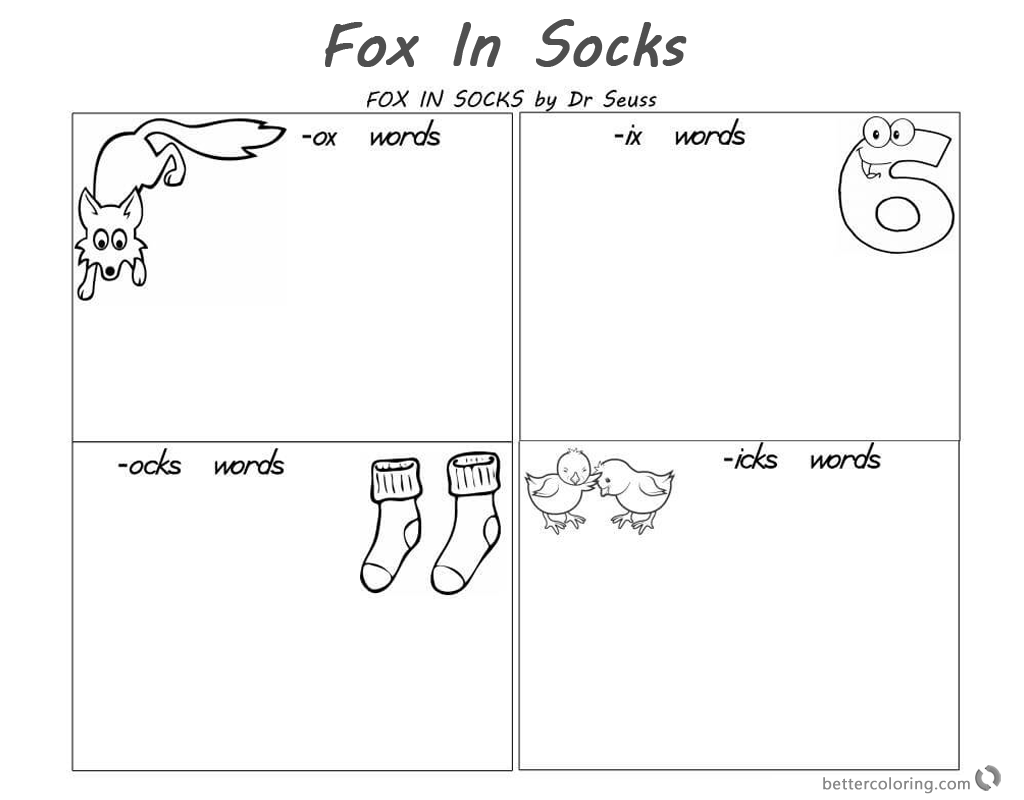 Fox In Socks By Dr Seuss Coloring Pages Reading And Rhyming