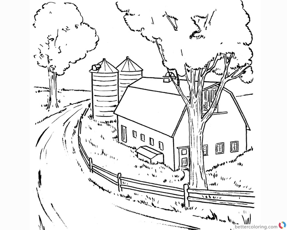 Barn Coloring Pages Realistic Clipart Free Printable
