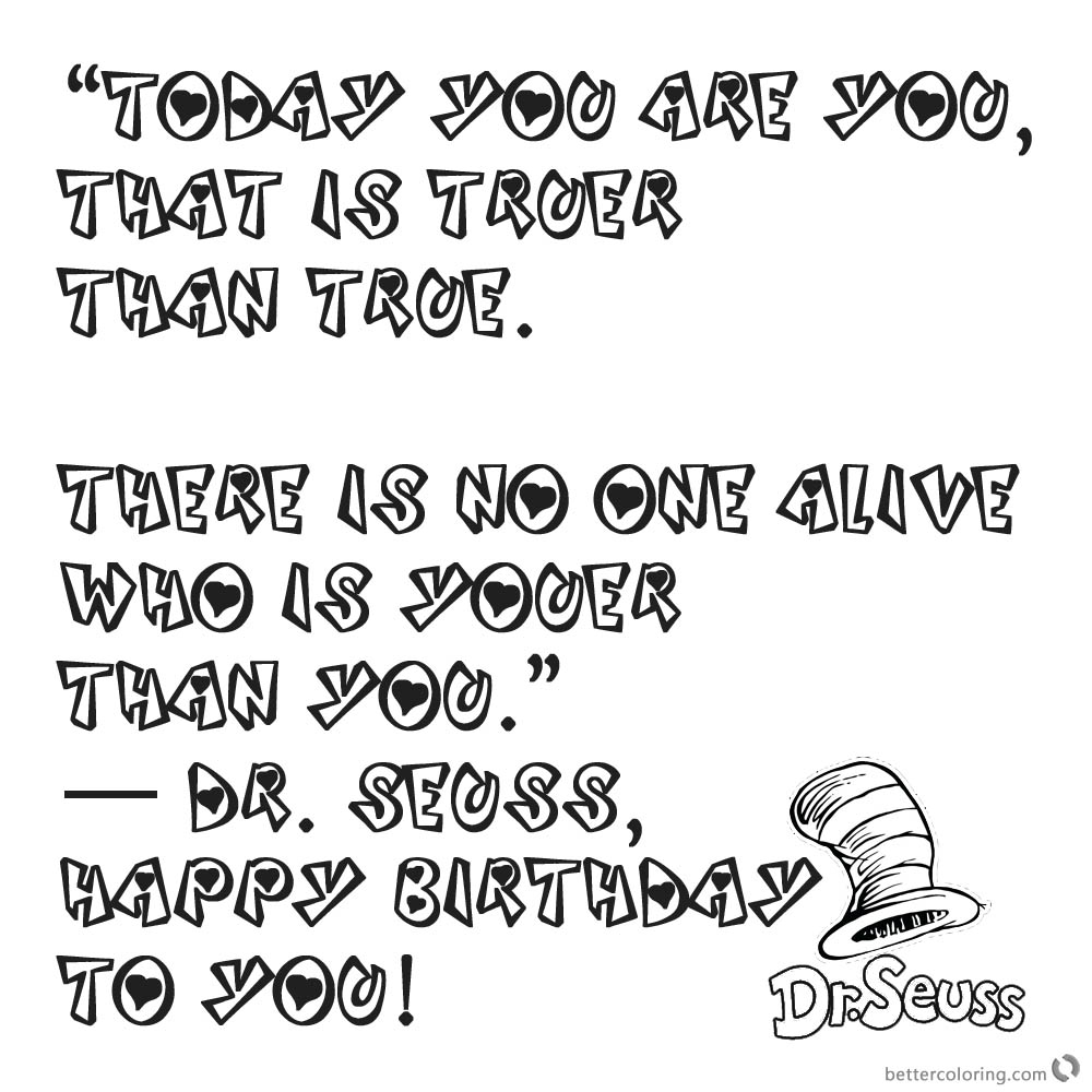 Free Coloring Pages Download : Dr Seuss Quote Coloring Pages Happy Birthday  To You Free Printable