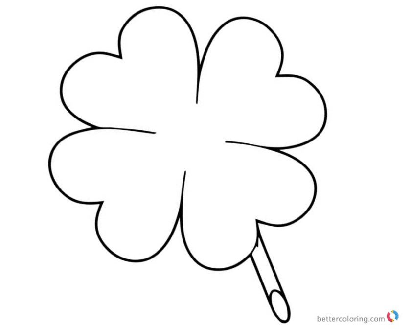 four leaf clover coloring pages for lucky  free printable