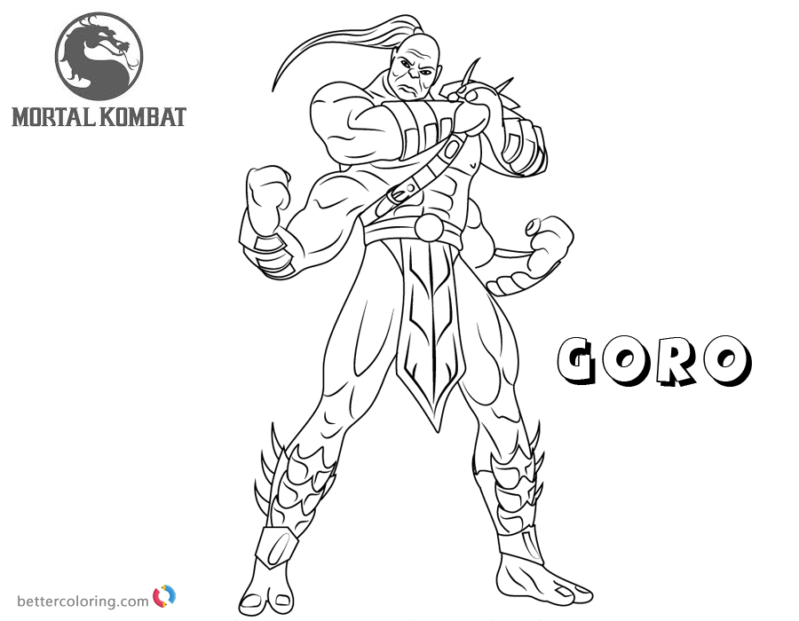 Mortal Kombat Coloring Pages Goro Free Printable