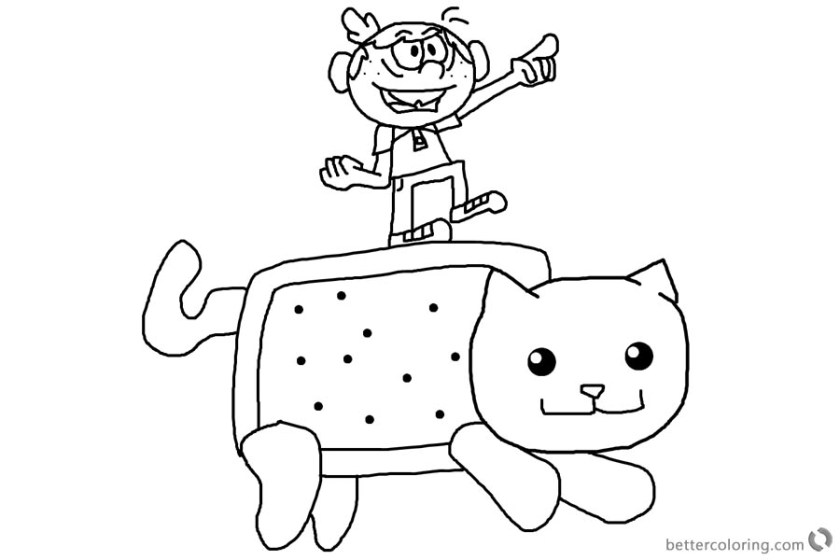 nyan cat coloring pages and loud house lincoln  free