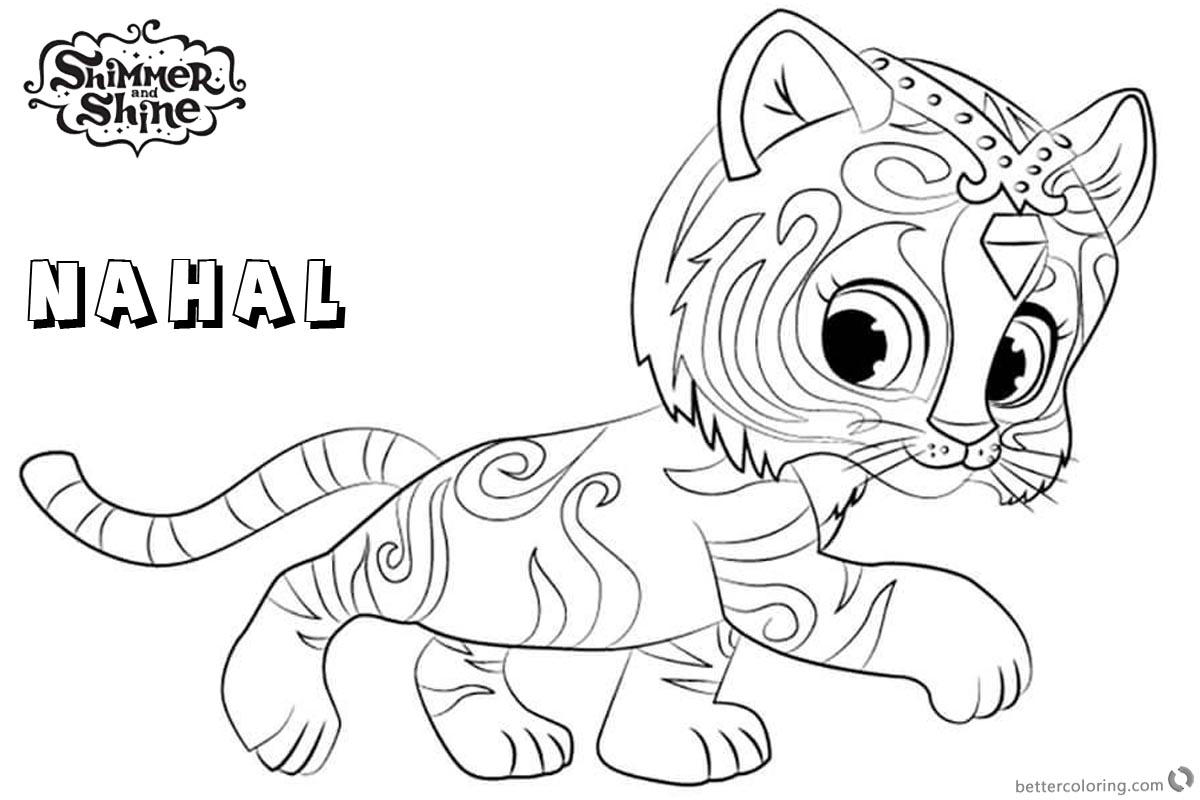 Shimmer And Shine Coloring Pages Nahal Walking Free