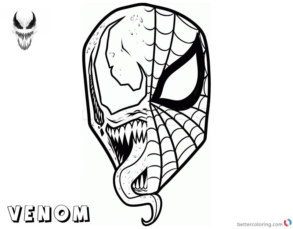 Venom Coloring Pages Spiderman X Venom Mask Free