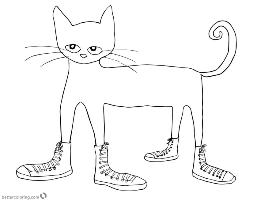 pete the cat coloring pages cat in shoes clipart  free