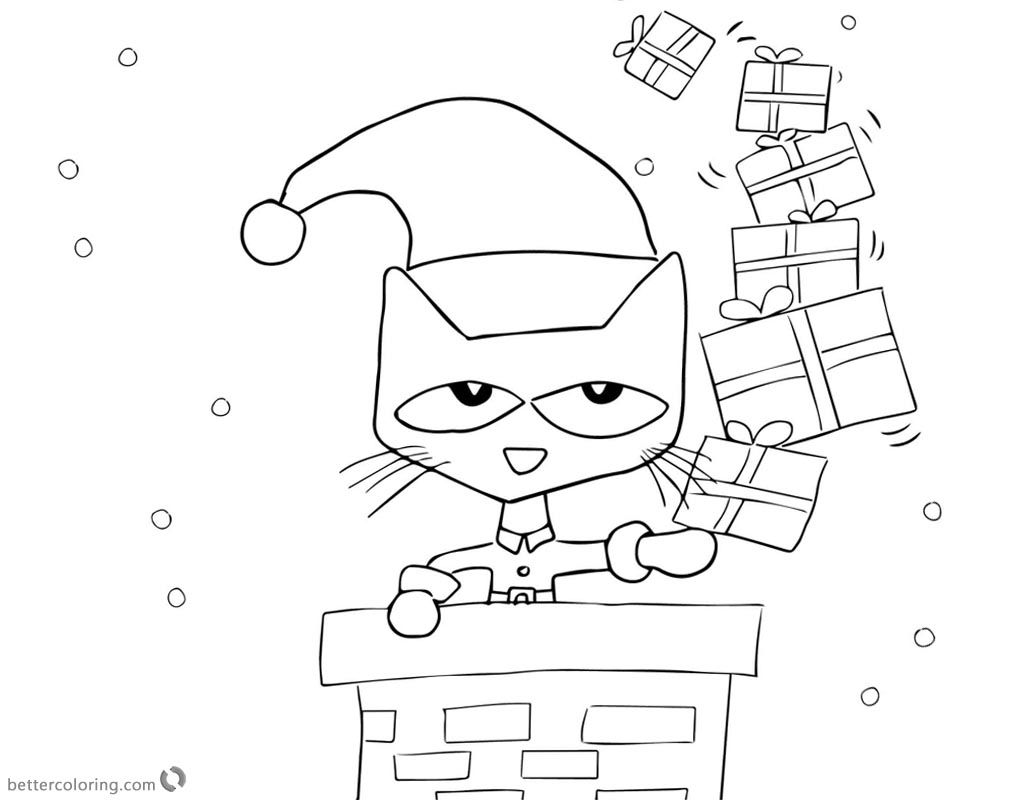 Pete The Cat Coloring Pages Christmas Ts