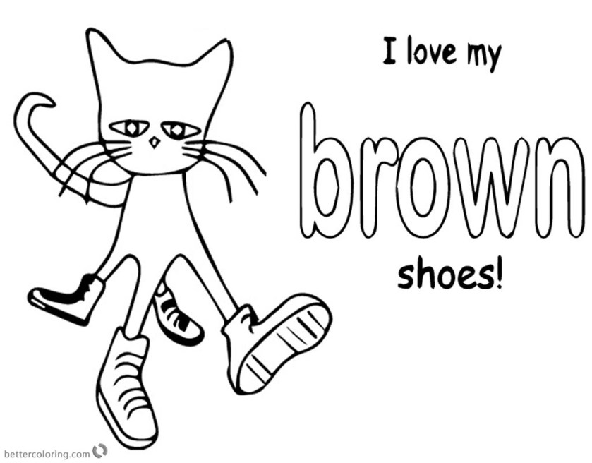 pete the cat coloring pages color brown shoes  free