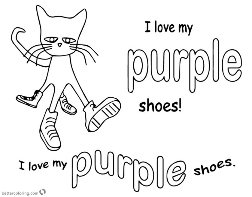 pete the cat coloring pages i love my purple shoes  free