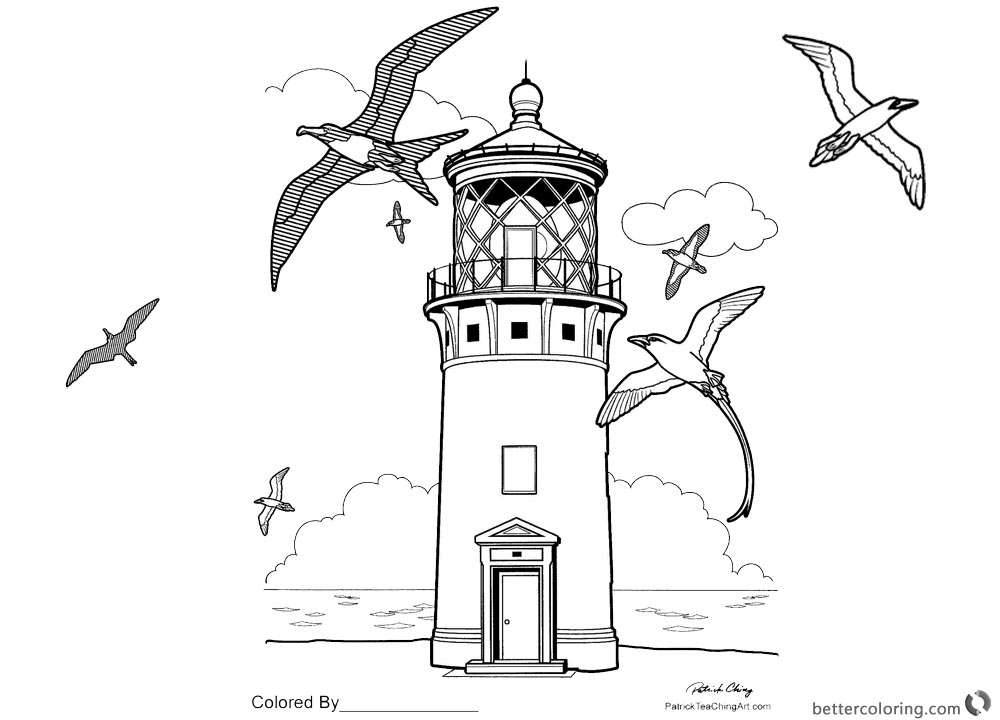 Realistic Lighthouse Coloring Pages Free Printable
