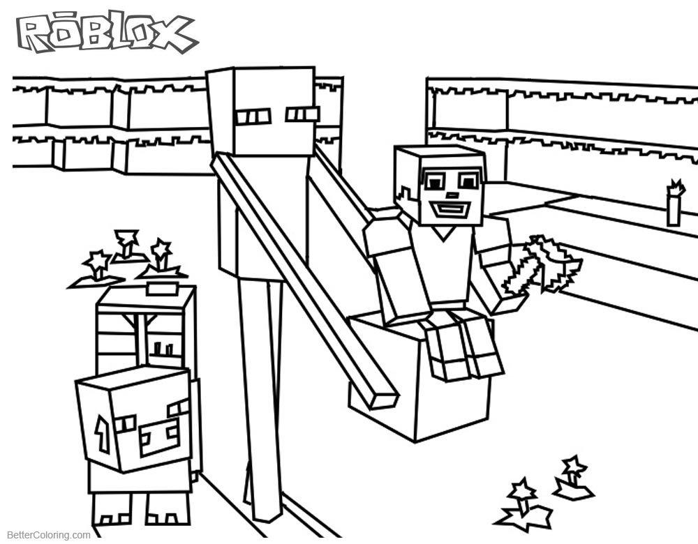 Roblox Noob Characters Coloring Pages