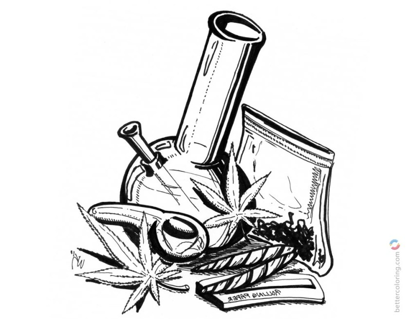 weed coloring pages hand drawing art  free printable