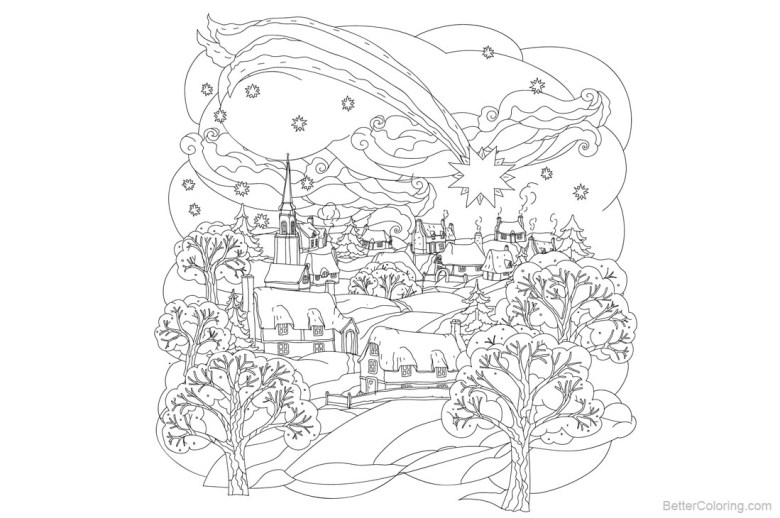 adult coloring pages of christmas little town - free printable