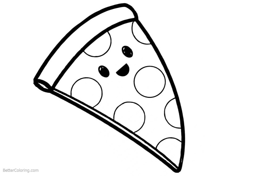cute food coloring pages cartoon pizza  free printable