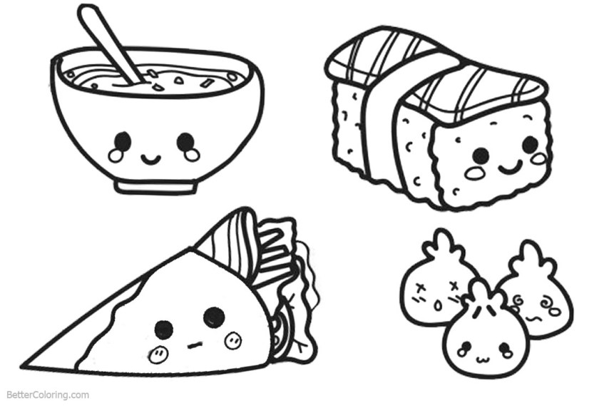 cute food coloring pages lineart  free printable coloring