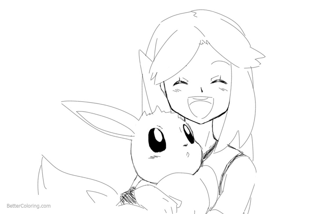 Eevee Coloring Pages With A Girl Free Printable Coloring