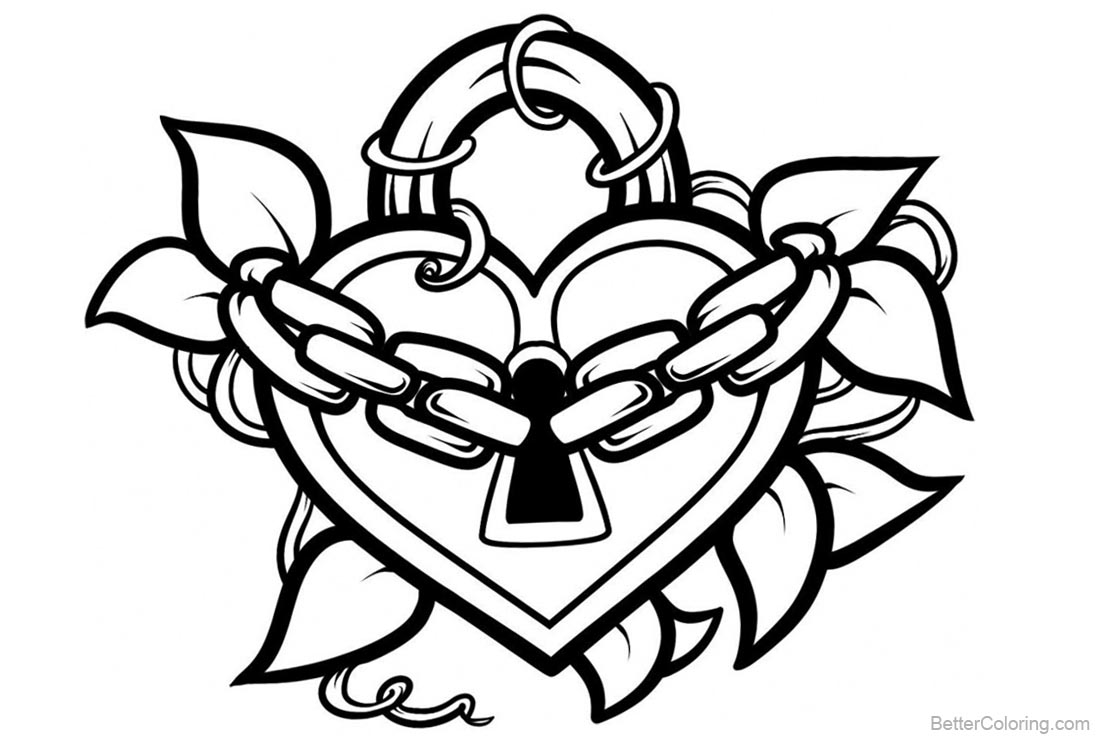 Heart Skull Coloring Pages Graffiti