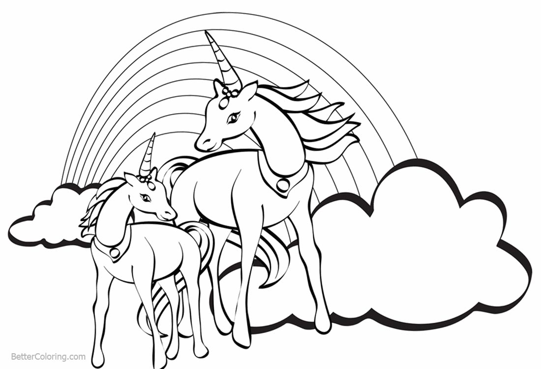Two Unicorns Coloring Pages with Rainbow - Free Printable ... | unicorn rainbow coloring pages free