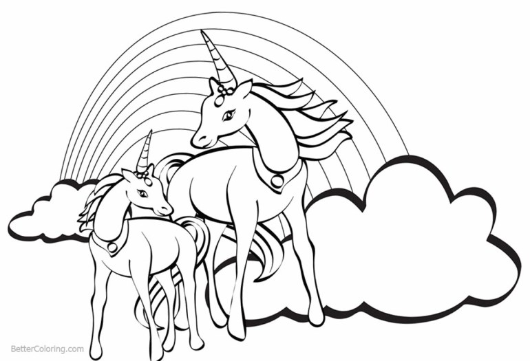 Two Unicorns Coloring Pages with Rainbow - Free Printable ... | free printable coloring pages unicorn rainbow