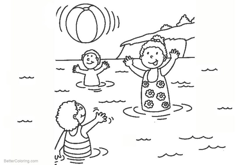 beach ball coloring pages kids playing in the water  free