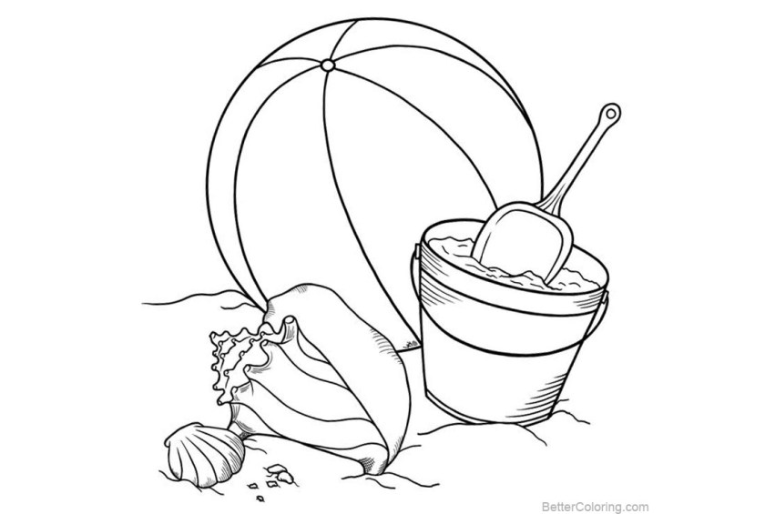beach ball coloring pages  seashell  free printable