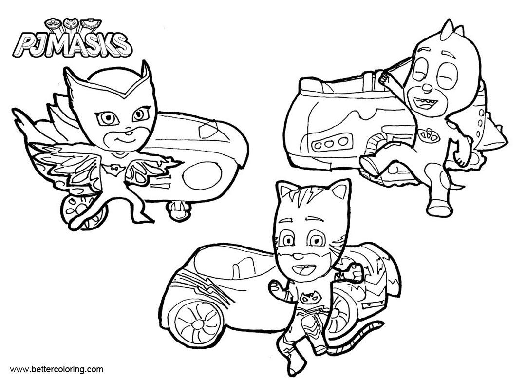 Disney Pj Mask Automobiles Coloring Pages
