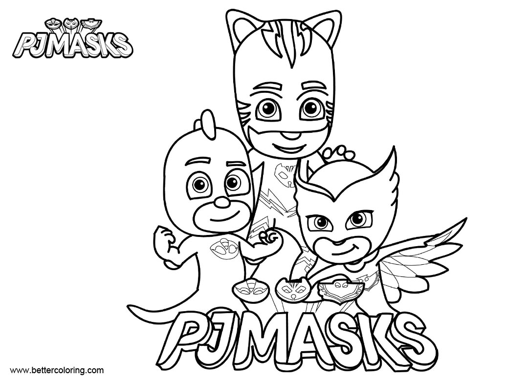Pj Mask Characters Coloring Pages Clipart Black And White