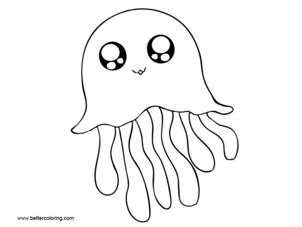 Cartoon Jellyfish Coloring Pages With Eyes
