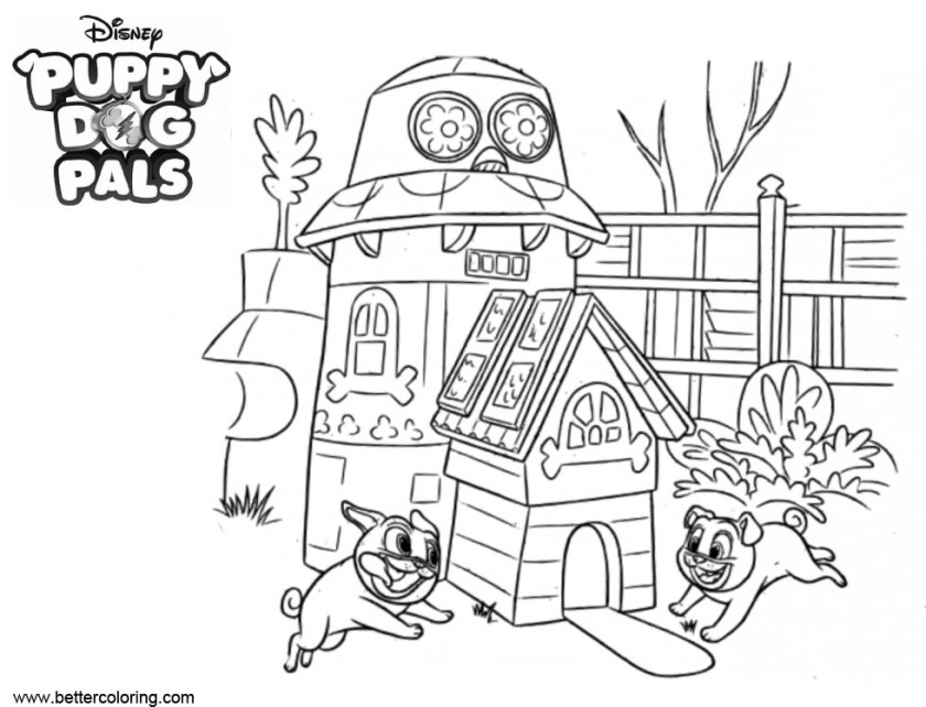 happy puppy dog pals coloring pages  free printable