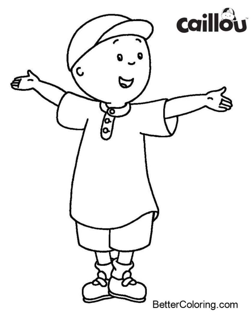 caillou coloring page easy for kids  free printable