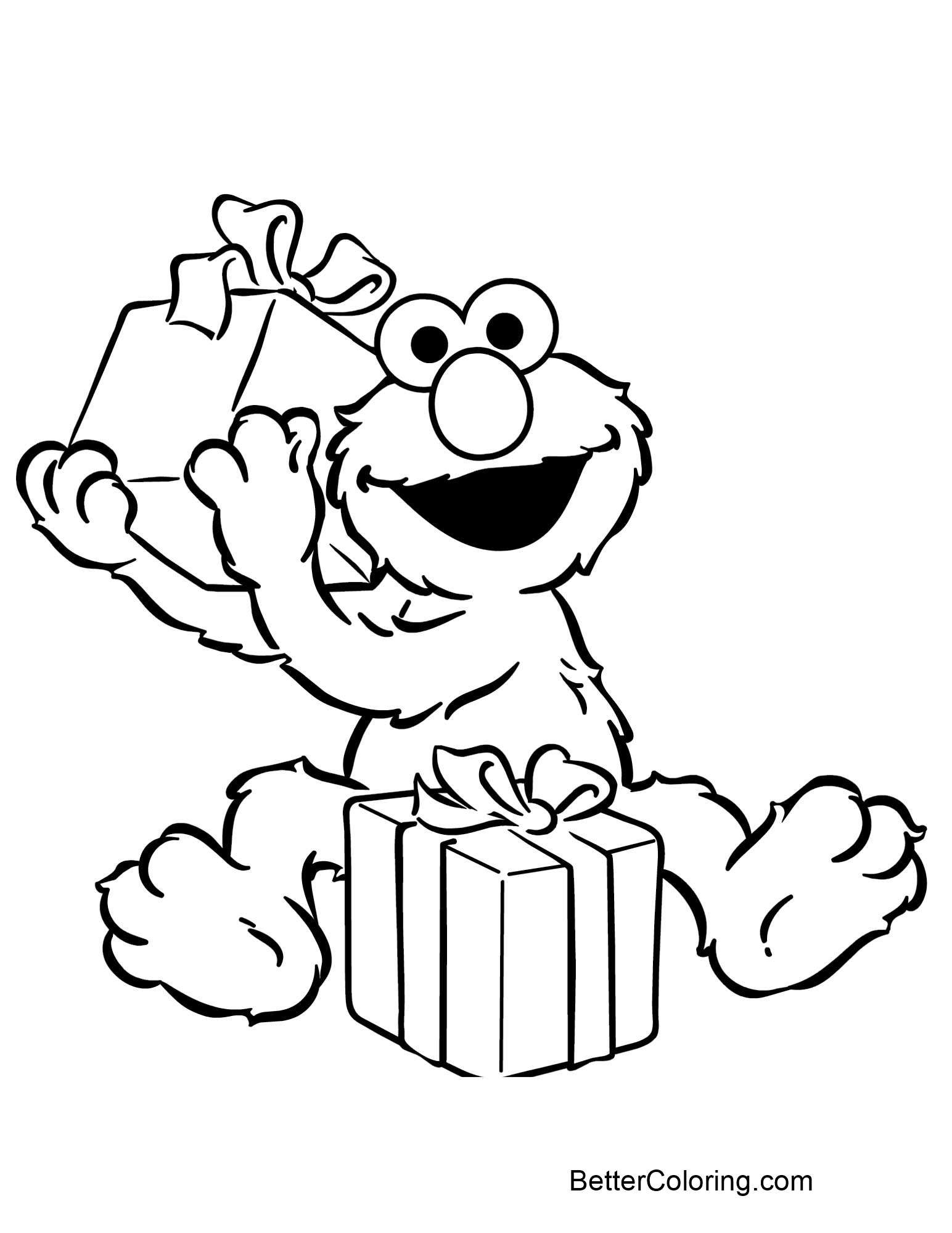 Elmo Coloring Pages Open T Box