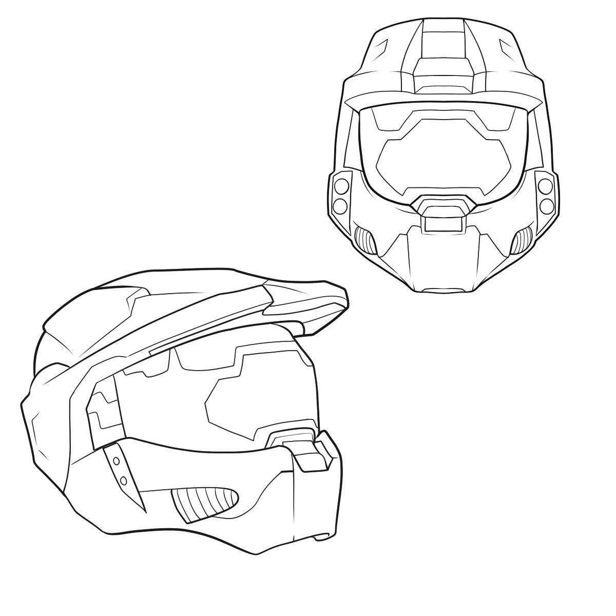 Halo Coloring Pages Easy Clipart How Draw Helmet