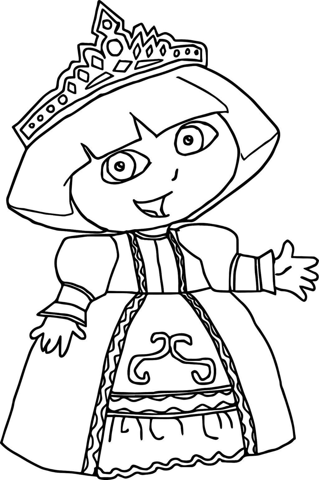 Dora Princess Coloring Pages Fattkay For Kids