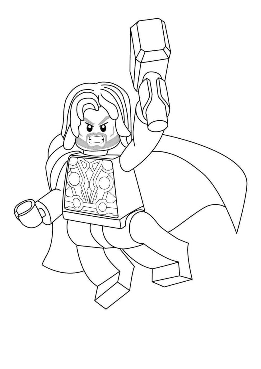 thor lego  free colouring pages
