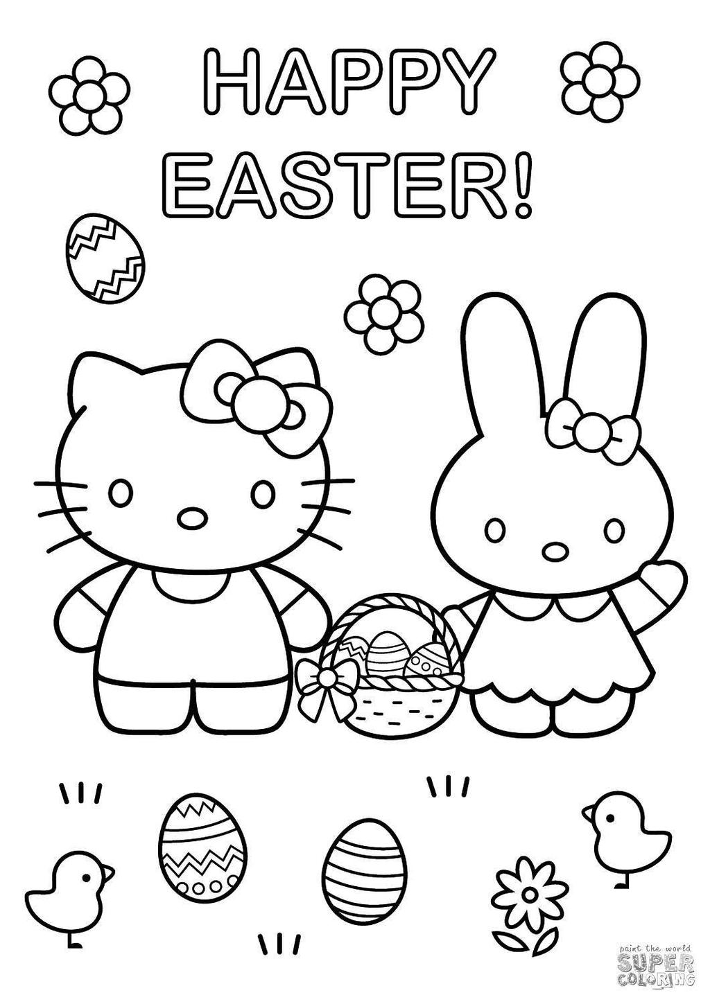 Easter Bunny Coloring Pages Hello Kitty Clipart