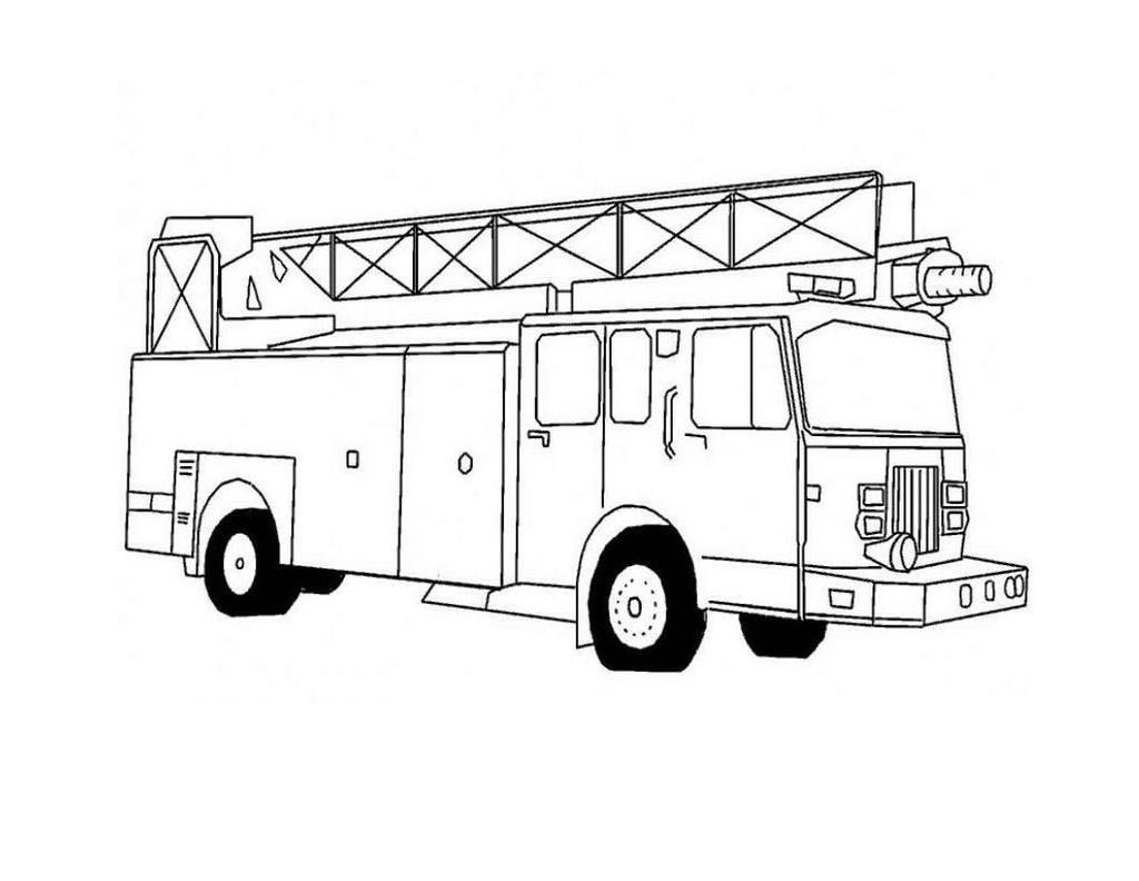 Fire Truck Coloring Pages Kids Lineart
