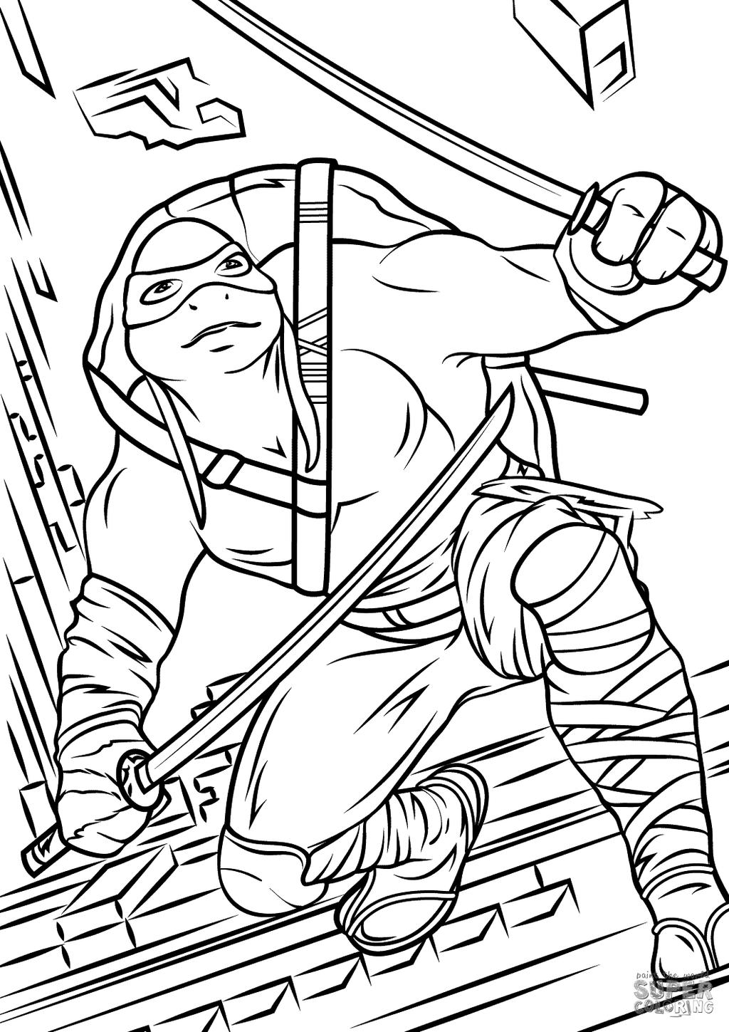 Ninja Turtles Coloring Pages Leonardo From