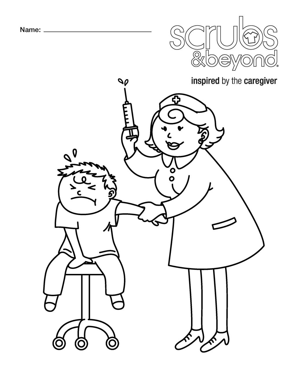 Nurse Coloring Pages Scrubs And