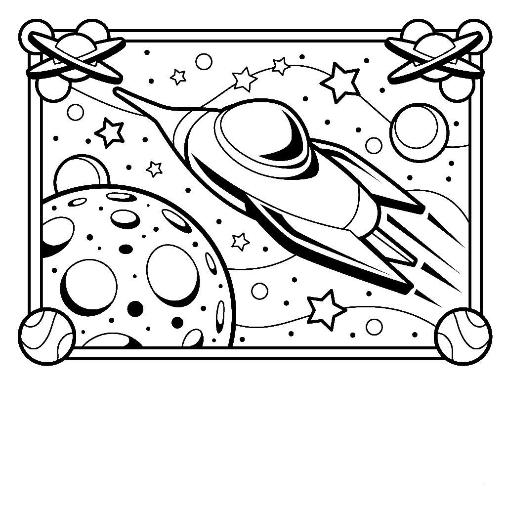 Rocket Ship Outline Coloring Pages