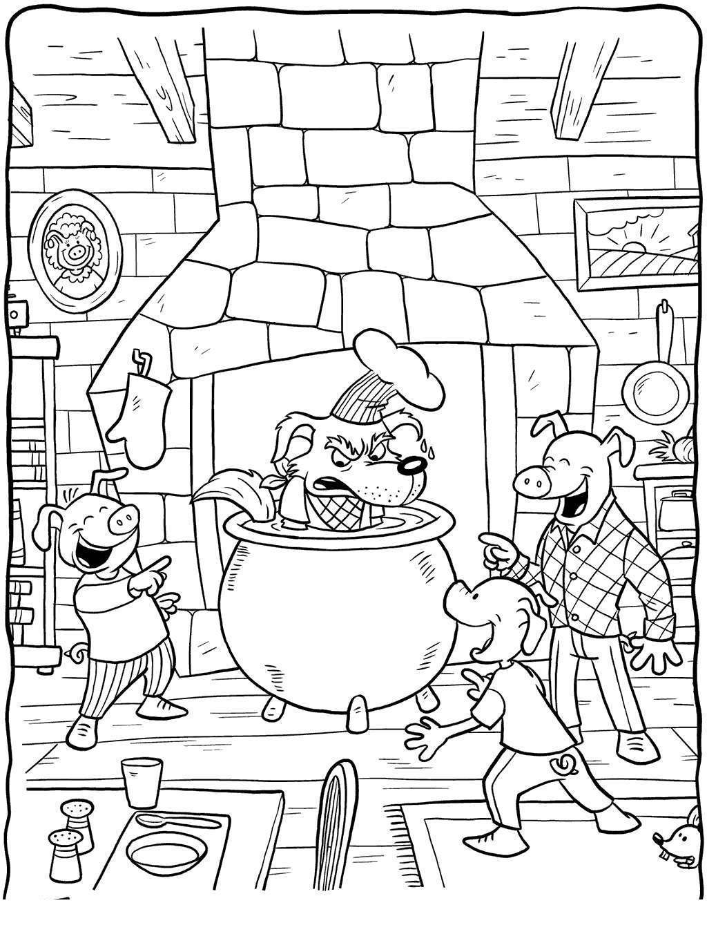 Three Little Pigs Coloring Pages Story Sketch