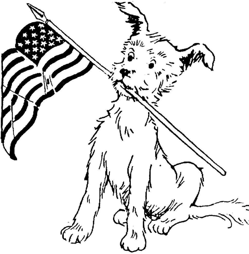 Veterans Day Coloring Pages Dog And Flag