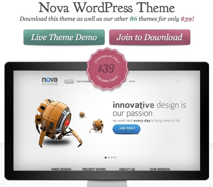 business WordPress theme - Nova