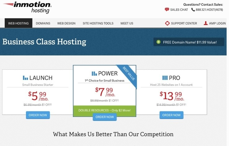 Best eCommerce Web Hosting Plans - InMotion Business Power Hosting Plan