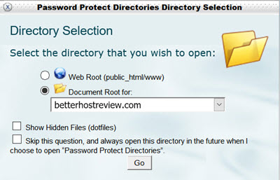 password protect directories - select website in cpanel