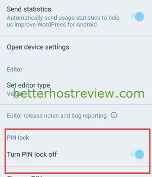 Lock WordPress with a password on Android phone