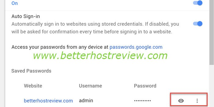 View saved passwords in Chrome browser on PC