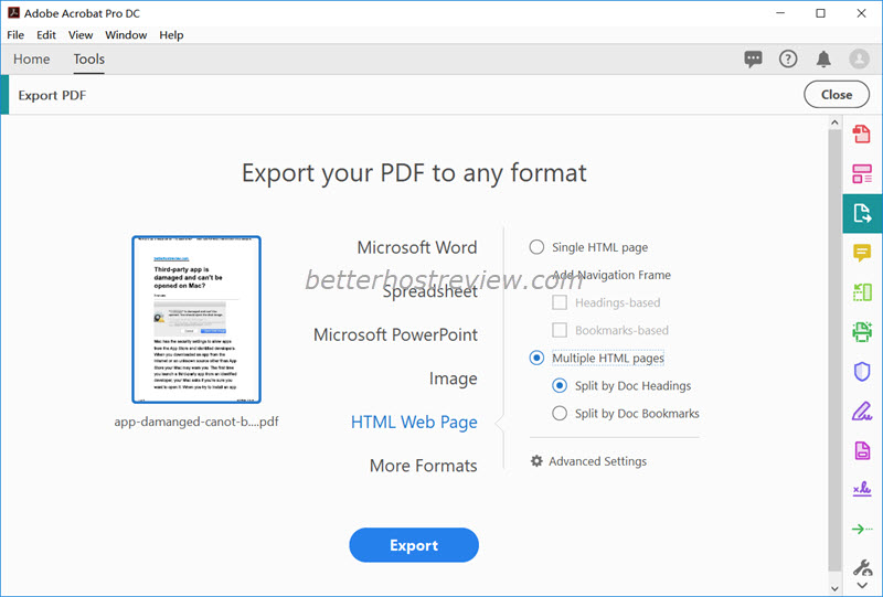 adobe export pdf not working