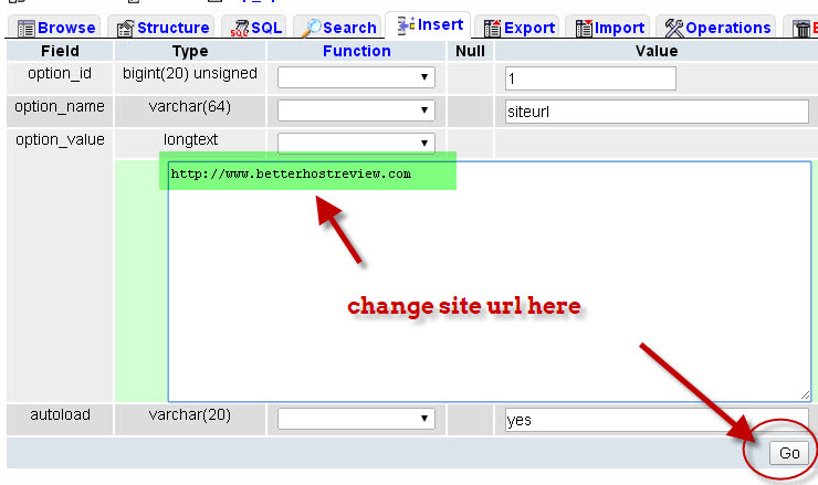 change site url in database for wordpress