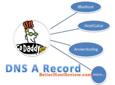 domain dns record from godaddy to other web hosting bluehost hostgator arvixe