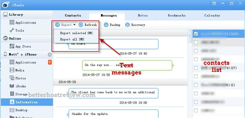 Export iPhone SMS to Computer – Better Host Review